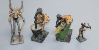 Four African cold-painted metal figures