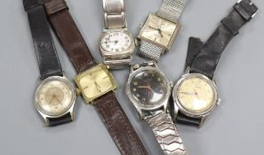 Six gentlemen's assorted wrist watches including Bucherer and Favre Leuba.