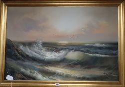 H. Gailey, oil on canvas, Coastal landscape, 60 x 90cm