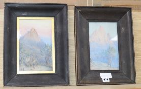 A. E. Cabell, pair of watercolours, Mountain landscapes, one signed, 22 x 14cm