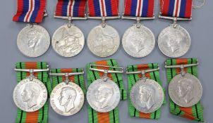 Ten WWII Defense medals