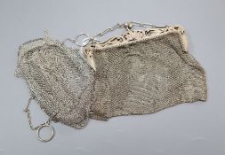A sterling mesh evening bag and one other white metal evening bag.A gift to All Souls from Sue