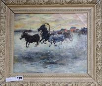 Eastern European, oil on canvas, Horses pulling a cart, indistinctly inscribed verso, 26 x 32cm