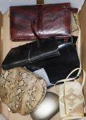 A group of vintage handbags