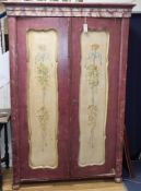 A 19th century Continental painted pine armoire W.120cm