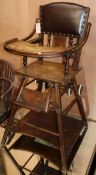 An Edwardian child's high chair combined baby walker