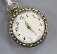 A Swiss 935 white metal blue enamel and seed pearl set fob watch, 26mm.