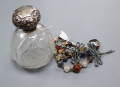 A silver topped scent bottle and mixed silver and other costume jewellery