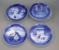 A set of nine Royal Copenhagen Christmas plates