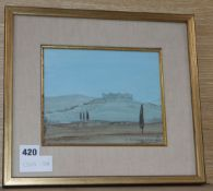 Andre Dzierzynski, oil on board, 'Monteriggioni, Italy', signed and dated 1979, 16 x 20cm