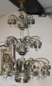 A 1960's multi branch three tier ceiling chandelier