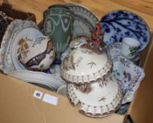 A collection of mixed 19th century and later ceramics