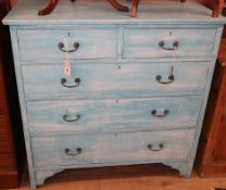 An early 20th century painted chest of drawers W.104cm