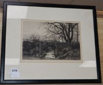A Victorian etching of a stone bridge, dated 1882, 19 x 28cm