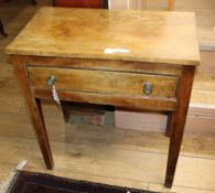 A 19th century fruitwood side table, fitted one long drawer W.69cm