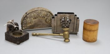 A Black Forest bear inkstand, two letter racks, a gavel and treen pot