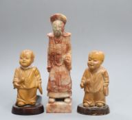 Two Chinese boxwood figures and a soapstone seal tallest 14cm