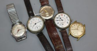 A nickel cased West End Watch Co 'Queen Anne' manual wind wrist watch and four other wrist watches