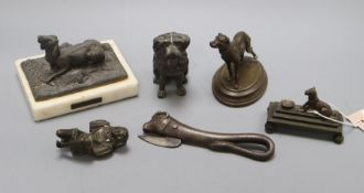 A collection of European metal dogs etc. (6)