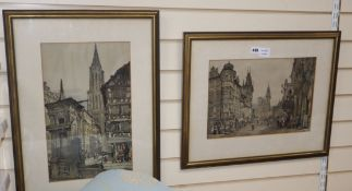 After Samuel Prout, pair of colour lithographs, Views of Prague and a French street, largest 43 x