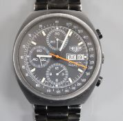 A gentleman's stainless steel Heuer Pasadena automatic wrist watch, with black dial and three