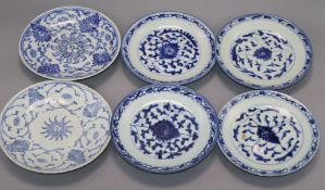 Six Chinese small blue and white plates, Daoguang period (1821-1850), four near matching