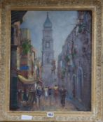 Vincenzo Funiciello, oil on board, Naples street scene, signed, 49 x 39cm