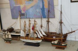 Five 5 model ships / boats