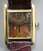 A Must de Cartier vintage ladys' gilt 925 wristwatch, No. 231651, having three-colour metallic
