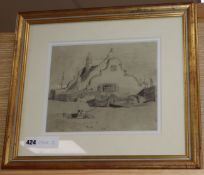 Attributed to John Sell Cotman, pencil drawing, Yarmouth Beach, 20 x 25cm