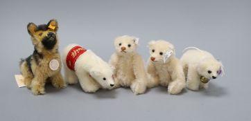 Two replica Steiff rattle bears, a Steiff German Shepherd, a Polar bear ornament and a Steiff