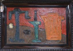 In the manner of C. Venard, oil on board, Still life, signed, 47 x 78cm