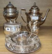 A Scandinavian silver plated three piece tea service, basket, lamp, etc.