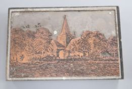 Leslie W. Rowsell - five printing blocks with views of Alfriston and Littlington