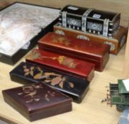 Four various lacquer boxes and two ivory etched mounted boxes