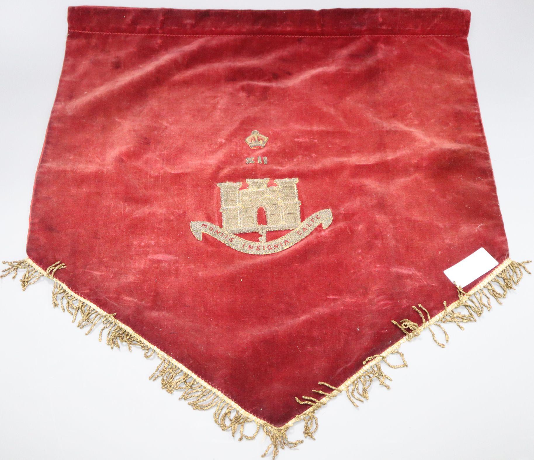 Lot 32 - A velvet Essex Regimental banner