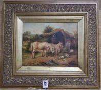 A Victorian style oil on board of donkeys in a farmyard, 19 x 24cm