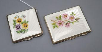 A 1930's silver and enamel compact and cigarette case, largest 85mm.
