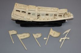 A Chinese ivory boat length 25cm