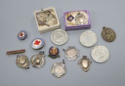 Nine assorted silver medallions and other medallions