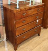 A late George III banded oak chest, fitted four long drawers W.92cm
