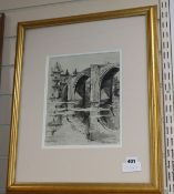 Albert Goodwin, ink and wash, Study of a Continental bridge, inscribed verso, 28 x 22cm