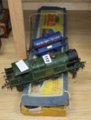 A Hornby tin plate loco and a Hornby 00 train set
