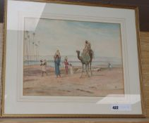 Frederick Goodall, watercolour, Arab riding a camel and herdsmen driving sheep, monogrammed, 28 x