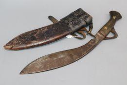 A Burmese knife with scabbard