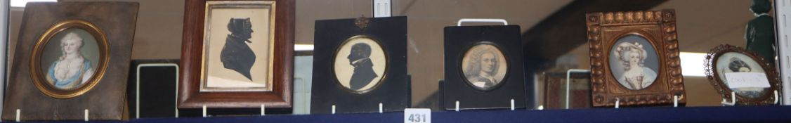 Two Victorian cut paper and gilt silhouettes and four assorted miniatures