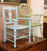 A Victorian child's green painted stick back elbow chair and one other (2)