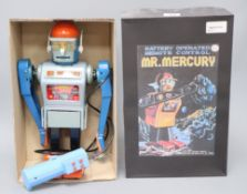 A Japanese Marx Toys Mr Mercury battery-operated robot, with grey tinplate body, blue arms and head,