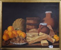 English School, oil on canvas, Still life of oranges, walnuts and boxes on a table, 60 x 75cm