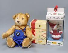 Steiff BMW bear, a Polar bear china ornament and Steiff Roly Poly Christmas ornament